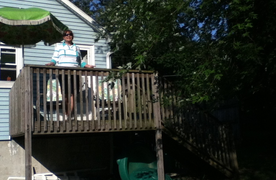 Patricia on her old deck