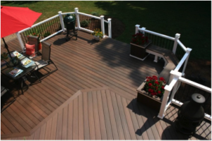 Deck Colored Composite Boards with White Railing
