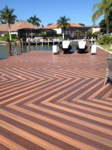 composite dock in herringbone design